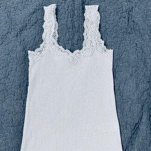 J. Crew Cami with lace straps, ribbed, S, baby blu